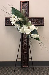 Metal Sympathy Cross -A local Pittsburgh florist for flowers in Pittsburgh. PA