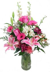 Pretty In Pink Vase -A local Pittsburgh florist for flowers in Pittsburgh. PA