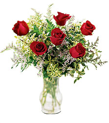 Six Red Roses, Vased -A local Pittsburgh florist for flowers in Pittsburgh. PA