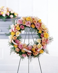 Vibrant Sympathy Wreath -A local Pittsburgh florist for flowers in Pittsburgh. PA