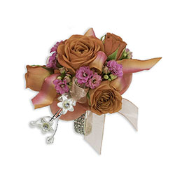 Sherbet Wrist Corsage -A local Pittsburgh florist for flowers in Pittsburgh. PA